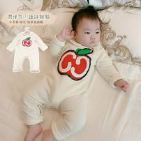 Jumpsuit / climbing suit / Khaki Other / other Class A neutral white cotton Long sleeves Long climb There are models in the real shooting Freshmen, 3 months, 6 months, 12 months, 18 months, 2 years old, 3 years old, 9 months old