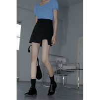 skirt Summer 2021 M [suggested 90-105 kg], l [suggested 105-120 kg], XL [suggested 120-140 kg], XXL [suggested 140-160 kg], XXXL [suggested 160-180 kg], XXXXL [suggested 180-200 kg] black Short skirt fresh High waist Little black dress Solid color Type A 18-24 years old other polyester fiber