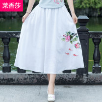 skirt Summer 2018 Medium length skirt commute A-line skirt Natural waist Design and color More than 95% other LXS18XB0462 25-29 years old Embroidery Leschampa ethnic style Other 100% Pure e-commerce (online sales only) One size fits all White light blue