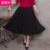 skirt Summer of 2018 Average size Mid length dress commute Natural waist A-line skirt Solid color 25-29 years old More than 95% Leschampa other ethnic style Other 100% Pure e-commerce (online only)