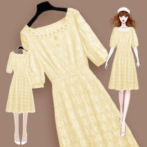 Dress Summer 2021 210762 yellow dress S M L XL Mid length dress singleton  Short sleeve commute square neck High waist Solid color Socket A-line skirt routine Others 25-29 years old Type A Meen'cou / mengkou Korean version Three dimensional decorative zipper lace 210762#2 More than 95% Lace other