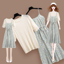 Dress Summer 2021 210703 green suspender dress 212277 off white knitted T-shirt S M L XL Mid length dress Two piece set Short sleeve commute Crew neck High waist Broken flowers Socket A-line skirt routine camisole 18-24 years old Type A Meen'cou / mengkou Korean version Pleated lace up stitching