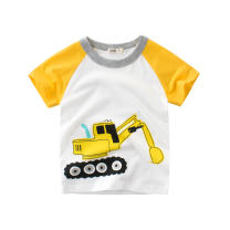 T-shirt Mibai 9559 excavator 140cm,130cm,120cm,110cm,100cm,90cm female summer Short sleeve Crew neck Korean version No model cotton Cartoon animation Class A 3 months Chinese Mainland