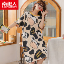 Nightdress NGGGN M. L, XL, XXL, XXXL, ★ collection baby priority delivery~ Sweet Short sleeve pajamas Middle-skirt summer Cartoon animation youth Crew neck cotton printing More than 95% pure cotton NJR-QL7714 200g and below