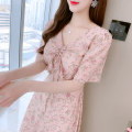 Dress Spring 2021 Picture color S M L XL longuette Two piece set Long sleeves commute V-neck middle-waisted Broken flowers Single breasted Princess Dress other Others 18-24 years old Type A Labran Korean version Splicing More than 95% Chiffon other Other 100%