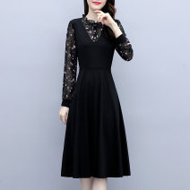 Dress Spring 2021 black M L XL 2XL 3XL 4XL 5XL Mid length dress singleton  Long sleeves commute Crew neck Solid color Three buttons other routine 18-24 years old Labran Korean version zipper PROI36881 More than 95% other Other 100%