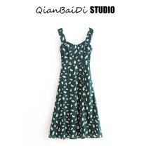 Dress Summer 2020 green S,M,L Middle-skirt singleton  Sleeveless Crew neck High waist Type A