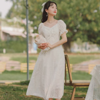 Dress Summer 2021 white S M L XL Mid length dress singleton  Short sleeve commute square neck High waist Solid color Socket A-line skirt puff sleeve Others 18-24 years old Type A Gesture rose Korean version Q8001 More than 95% other Other 100% Pure e-commerce (online only)