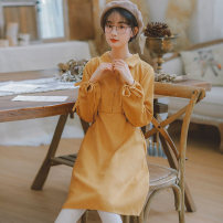 Dress Autumn of 2019 Red # yellow# S M L XL Mid length dress singleton  Long sleeves commute Polo collar High waist Solid color Socket A-line skirt other Others 18-24 years old Type H Gesture rose Korean version Tie button N3816 More than 95% polyester fiber Polyester 100%