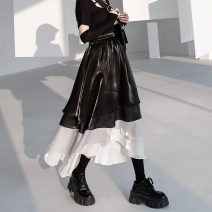 skirt Spring 2021 S M L Mid length dress street High waist A-line skirt other Type A 18-24 years old More than 95% other chicsky polyester fiber Asymmetric splicing Polyester 100% Pure e-commerce (online only)