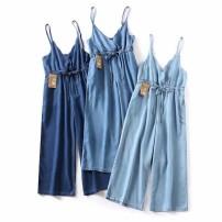 Jeans Summer of 2019 Dark blue, light blue, medium blue M,L,XL trousers High waist Jumpsuit Thin money MUMUYICHU 71% (inclusive) - 80% (inclusive)