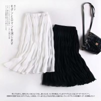 skirt Summer 2020 S,M,L White, black Mid length dress Versatile High waist A-line skirt Solid color Type A 81% (inclusive) - 90% (inclusive) MUMUYICHU polyester fiber fold