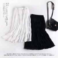 skirt Summer 2020 S,M,L White, black Mid length dress Versatile High waist A-line skirt Solid color Type A 81% (inclusive) - 90% (inclusive) MUMUYICHU polyester fiber fold