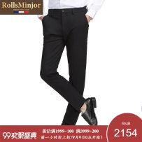 Western-style trousers Rolls minjor Business gentleman black Eighty-eight R18A081622 Viscose fiber (viscose fiber) 60.5% polyamide fiber (nylon) 31.4% polyurethane elastic fiber (spandex) 8.1% Autumn of 2018 Pure e-commerce (online only)
