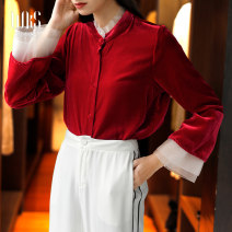 shirt Red and black S M L XL Winter 2020 silk 96% and above Long sleeves commute Regular stand collar Single row multi button pagoda sleeve Solid color 30-34 years old Straight cylinder Vicksan Retro W20qs3722 red Button gauze Mulberry silk 100% Same model in shopping mall (sold online and offline)