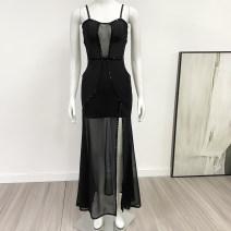 Dress Summer 2020 S,M,L,XL longuette singleton  Sleeveless commute High waist Solid color zipper camisole F001 81% (inclusive) - 90% (inclusive) polyester fiber