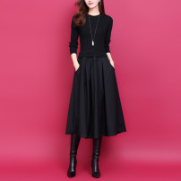 Dress Spring 2021 black S,M,L,XL,2XL longuette Fake two pieces Long sleeves commute Crew neck middle-waisted Solid color Socket Big swing routine Type X lady Pocket, panel, thread 51% (inclusive) - 70% (inclusive) knitting wool
