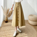 skirt Spring 2021 S,M,L Khaki, black Mid length dress commute High waist A-line skirt Solid color Type A 25-29 years old 81% (inclusive) - 90% (inclusive) other polyester fiber Button, zipper Korean version