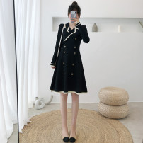 Dress Autumn 2020 Black, red, apricot Average size Middle-skirt singleton  Long sleeves commute tailored collar High waist Socket A-line skirt routine 18-24 years old Type A Korean version Button, stitching 91% (inclusive) - 95% (inclusive) knitting acrylic fibres