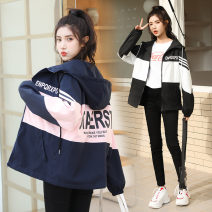 short coat Spring 2021 S M L XL XXL Black blue Long sleeves routine Thin money singleton  easy Versatile Wrap sleeves Hood zipper shape Qiusi Butterfly 96% and above Pocket zipper panel print other Other 100% Pure e-commerce (online only)