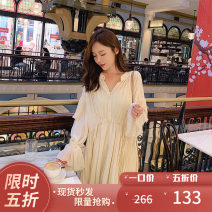 Dress Autumn of 2019 Apricot, black L,M,S Middle-skirt Two piece set Long sleeves V-neck other routine Others 25-29 years old Other / other LXC1902236398 More than 95% Chiffon polyester fiber