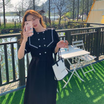 Dress Summer 2021 black S,M,L singleton  Long sleeves commute Hood High waist Solid color Socket routine Type H Bagpiper ZB012235-N0109