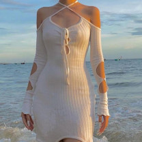 Dress Spring 2021 White, black S,M,L Short skirt singleton  Long sleeves street One word collar High waist Solid color Socket other other Hanging neck style 18-24 years old Type X KLIOU hole K20D11124 91% (inclusive) - 95% (inclusive) other polyester fiber Europe and America