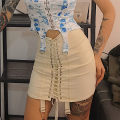 skirt Summer of 2019 S,M,L Black, off white Short skirt street High waist A-line skirt Solid color Type A 18-24 years old D1733021 91% (inclusive) - 95% (inclusive) other KLIOU polyester fiber Lace up Europe and America
