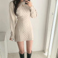 Dress Autumn 2020 Grey, black, apricot Average size Short skirt singleton  Long sleeves street Crew neck High waist Solid color Socket One pace skirt puff sleeve Others 18-24 years old Type X KLIOU M20D09538 91% (inclusive) - 95% (inclusive) other polyester fiber Europe and America