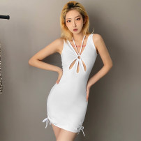 Dress Summer 2021 white S,M,L Short skirt singleton  Sleeveless street V-neck High waist other Socket One pace skirt other camisole 18-24 years old Type X KLIOU 91% (inclusive) - 95% (inclusive) other polyester fiber Europe and America