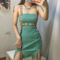 Dress Summer 2020 green S,M,L Short skirt singleton  Sleeveless street One word collar High waist Solid color Socket other other camisole 18-24 years old Type H KLIOU Splicing D1737825 91% (inclusive) - 95% (inclusive) other polyester fiber Europe and America