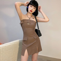 Dress Summer 2021 brown S,M,L Short skirt singleton  Sleeveless street other High waist Solid color Socket One pace skirt other Breast wrapping 18-24 years old Type A KLIOU K21D01635 91% (inclusive) - 95% (inclusive) other polyester fiber Europe and America