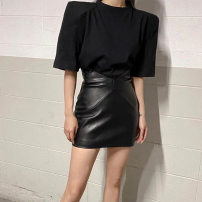 skirt Autumn 2020 S,M,L Black, white, khaki Short skirt street High waist skirt Solid color Type A 18-24 years old M20J09338 91% (inclusive) - 95% (inclusive) KLIOU polyester fiber Europe and America