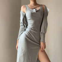 Fashion suit Autumn 2020 Average size Gray, black 18-25 years old KLIOU 91% (inclusive) - 95% (inclusive) cotton