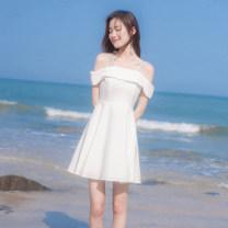 Dress Summer 2021 white XS,S,M,L Short skirt singleton  Sleeveless commute One word collar High waist Solid color zipper A-line skirt routine camisole Type A Korean version zipper More than 95% other