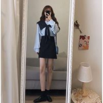 Women's large Spring 2021 S M L XL Dress Three piece set commute Straight cylinder Socket Long sleeves Solid color Korean version routine routine 2095-06055 Chunli leaf 18-24 years old Bandage Short skirt Polyester 45% other 55% Pure e-commerce (online only) Pencil skirt