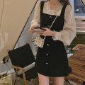 Women's large Winter 2020 S M L XL Dress Fake two pieces commute Straight cylinder Socket Long sleeves Korean version V-neck shirt sleeve 9122# Chunli leaf 18-24 years old Button Short skirt Polyester 45% other 55% Pure e-commerce (online only) Pencil skirt