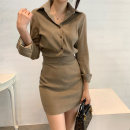 Women's large Winter 2020 Black Khaki apricot S M L XL Dress singleton  commute Self cultivation Socket Long sleeves Solid color Korean version Polo collar routine Chunli leaf 18-24 years old Button Short skirt Polyester 45% other 55% Pure e-commerce (online only) other Three buttons