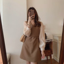 Women's large Winter 2020 Khaki dress black dress S M L XL Dress singleton  commute Straight cylinder Socket Long sleeves Solid color Retro V-neck routine C9N5759 Chunli leaf 18-24 years old Short skirt Polyester 45% other 55% Pure e-commerce (online only) other