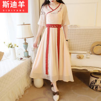 Dress Summer of 2019 Apricot white S M L XL Mid length dress singleton  Short sleeve commute V-neck High waist Solid color zipper A-line skirt other Others 18-24 years old Type A Stie sheep ethnic style Three dimensional decoration with embroidered lace H1228 51% (inclusive) - 70% (inclusive) other