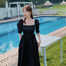 Dress Summer 2021 black S,M,L longuette singleton  Short sleeve commute square neck middle-waisted Solid color Single breasted Pleated skirt puff sleeve Others 25-29 years old Type A Korean version fold