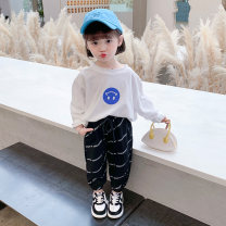 T-shirt white Suger bubble 90cm,100cm,110cm,120cm,130cm female spring and autumn Long sleeves Crew neck Korean version There are models in the real shooting No detachable cap other Cartoon animation Other 100% Yuk-2110 smiley face T-shirt Class B Sweat absorption Chinese Mainland Zhejiang Province