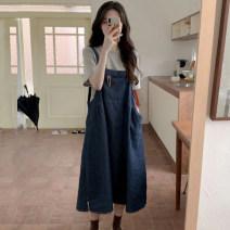 Wedding dress Summer 2021 Grey T-shirt + denim strap skirt S M L XL Korean version High waist 18-25 years old Slllcun / flash lip Pure e-commerce (online only) Polyester 100% 96% and above