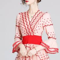Dress Winter 2016 Pink, pink S,M,L,XL,2XL Middle-skirt singleton  three quarter sleeve street V-neck middle-waisted Broken flowers zipper pagoda sleeve 30-34 years old Other / other Embroidery 31% (inclusive) - 50% (inclusive) Europe and America