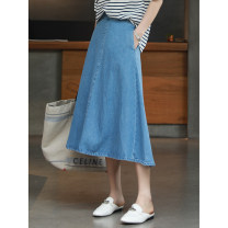 skirt Summer 2021 36,38,40 Light denim Mid length dress Versatile High waist A-line skirt Solid color 51% (inclusive) - 70% (inclusive) MAXHAPPY other