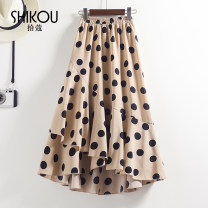 skirt Summer 2021 Average size Khaki, black Mid length dress commute Natural waist Ruffle Skirt Dot Type A Pick up cardamom Stitching, printing Korean version