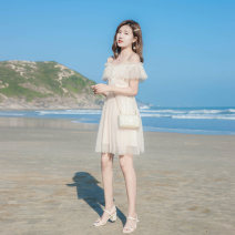 Dress Summer 2021 Light apricot XS,S,M,L Short skirt singleton  Short sleeve commute One word collar High waist Solid color zipper A-line skirt other camisole 18-24 years old Type A Korean version More than 95% other other