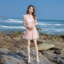 Dress Summer 2021 Pink XS,S,M,L Short skirt Fake two pieces Sleeveless Sweet Crew neck High waist Solid color zipper A-line skirt other Others 18-24 years old Type A Lace, button, mesh, zipper More than 95% other other college