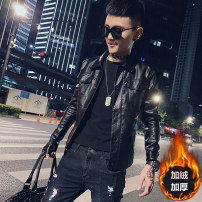 leather clothing Goxhuoos / ancient or Youth fashion Black black Plush S M L XL 2XL 3XL routine Imitation leather clothes Lapel Slim fit Single breasted autumn leisure time youth PU tide JK1229 Cloth hem Side seam pocket Multiple pockets No iron treatment Autumn of 2019 Pure e-commerce (online only)