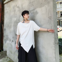 T-shirt Youth fashion White, black routine S,M,L,XL Others Short sleeve other Self cultivation daily summer Cotton 100% youth routine tide Sweat cloth 2019 Solid color Asymmetry cotton other other More than 95%